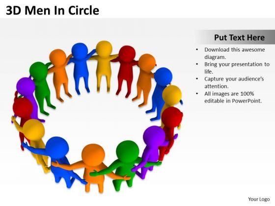Business Plan Diagram 3d Men Circle PowerPoint Slides
