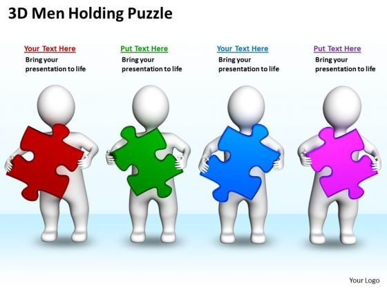 Business Plan Diagram 3d Men Holding Puzzles PowerPoint Slides
