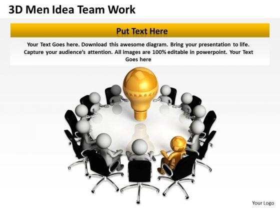 Business Plan Diagram 3d Men Idea Team Work PowerPoint Templates
