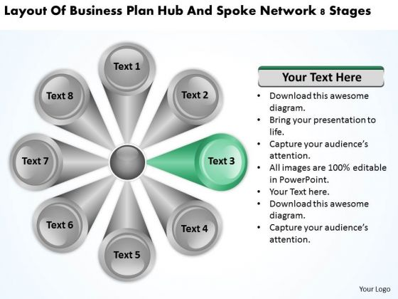 Business Plan Hub And Spoke Network 8 Stages Example PowerPoint Slides