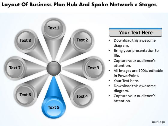 Business Plan Hub And Spoke Network 8 Stages Examples PowerPoint Slides