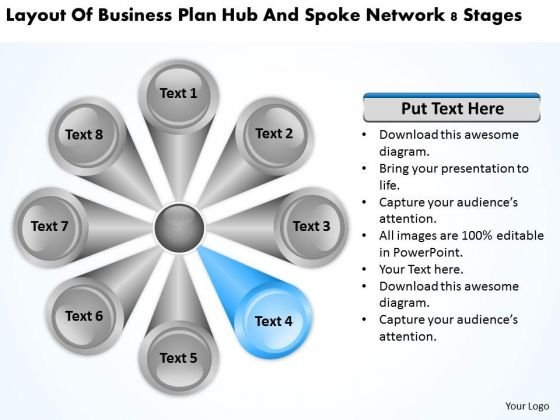 Business Plan Hub And Spoke Network 8 Stages PowerPoint Slides