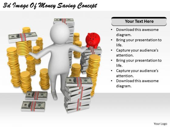 Business Plan Strategy 3d Image Of Money Saving Concept Character Modeling