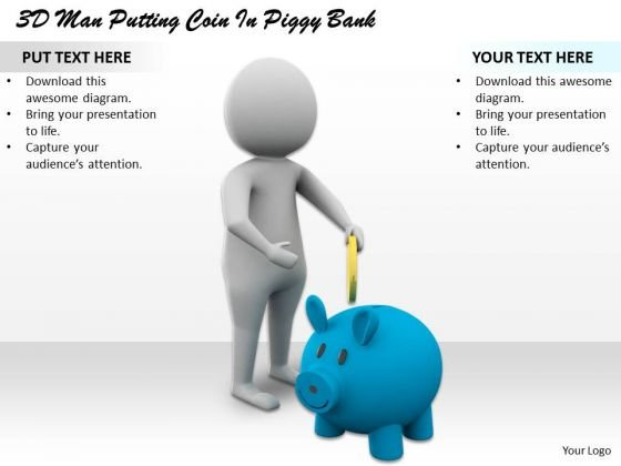 Business Plan Strategy 3d Man Putting Coin Piggy Bank Character Models