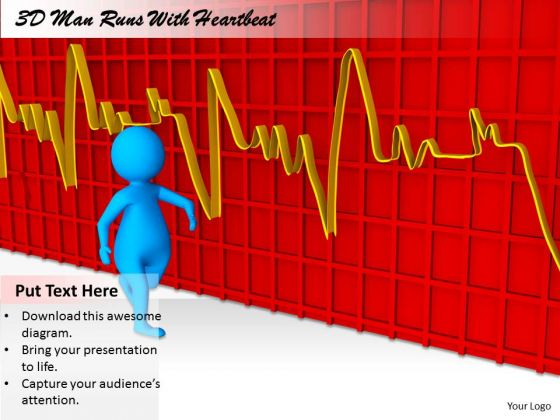 Business Plan Strategy 3d Man Runs With Heart Beat Character Models