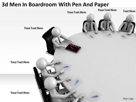 Business Plan Strategy 3d Men Boardroom With Pen And Paper Concept