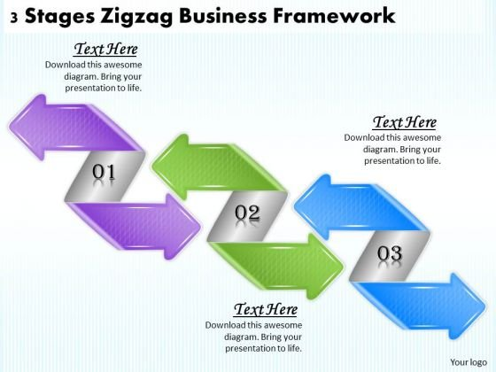 Business Planning Strategy 3 Stages Zigzag Framework Strategic Ppt Slide