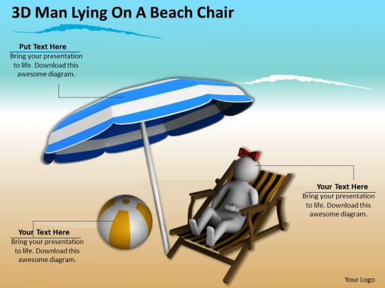 Business Planning Strategy 3d Man Lying On Beach Chair Concept