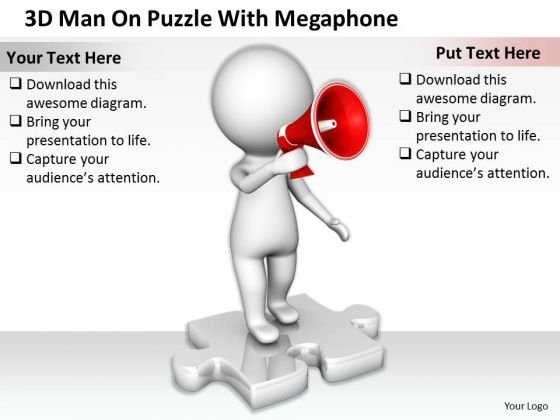 Business Planning Strategy 3d Man On Puzzle With Megaphone Character Modeling