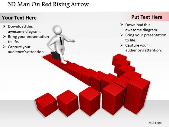 Business Planning Strategy 3d Man On Red Rising Arrow Character Modeling