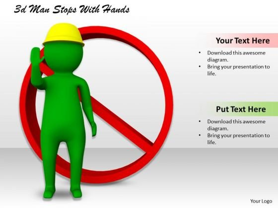 Business Planning Strategy 3d Man Stops With Hands Basic Concepts
