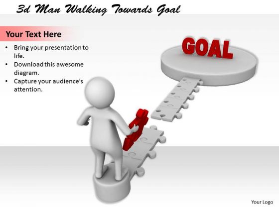 Business Planning Strategy 3d Man Walking Towards Goal Basic Concepts
