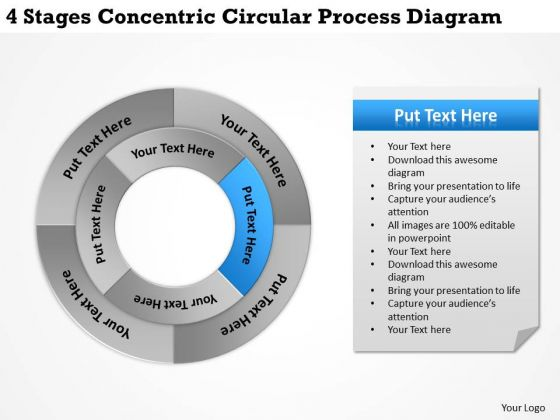 Business Planning Strategy 4 Stages Concentric Circular Process Diagram Marketing Concepts