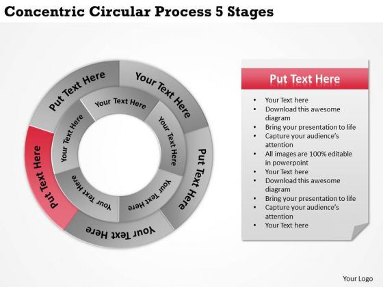 Business Planning Strategy Concentric Circular Process 5 Stages Policy And