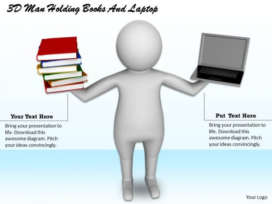 Business Policy And Strategy 3d Man Holding Books Laptop Basic Concepts