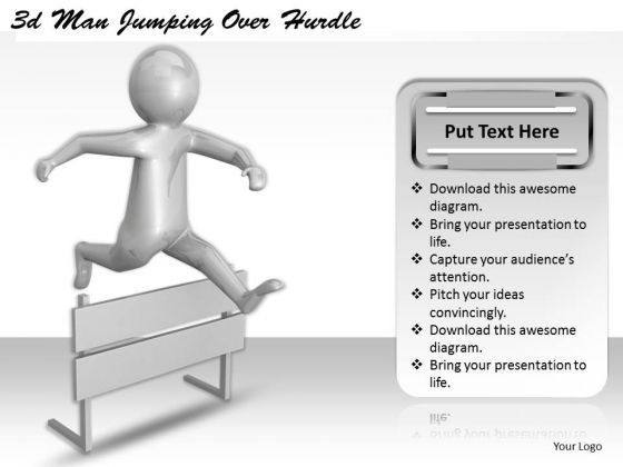 Business Policy And Strategy 3d Man Jumping Over Hurdle Adaptable Concepts