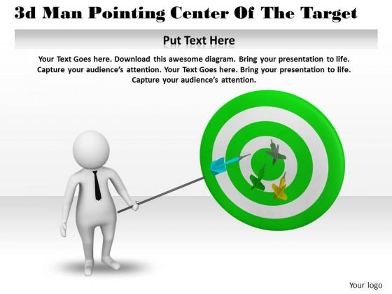 Business Policy And Strategy 3d Man Pointing Center Of The Target Basic Concepts