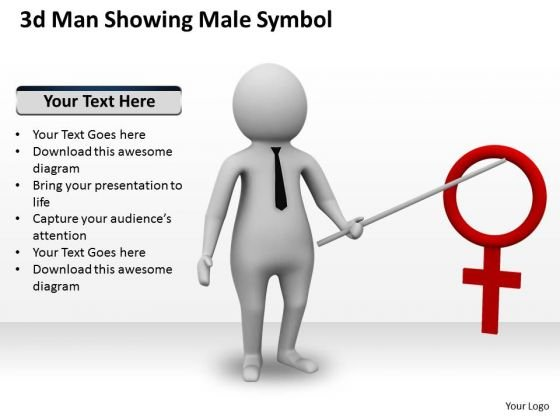 Business Policy And Strategy 3d Man Showing Male Symbol Concept
