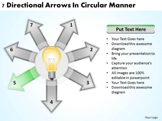 Business Policy And Strategy 7 Directional Arrow Circular Manner PowerPoint