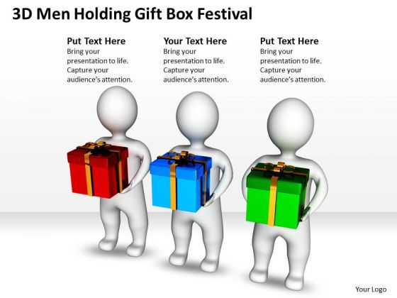 Business Power Point Men Holding Gift Box Festival PowerPoint Templates Ppt Backgrounds For Slides