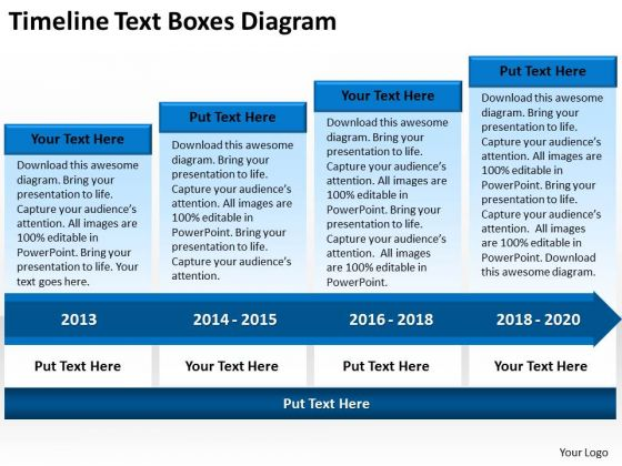 Business Power Point Timeline Text Boxes Diagram Ppt PowerPoint Slides