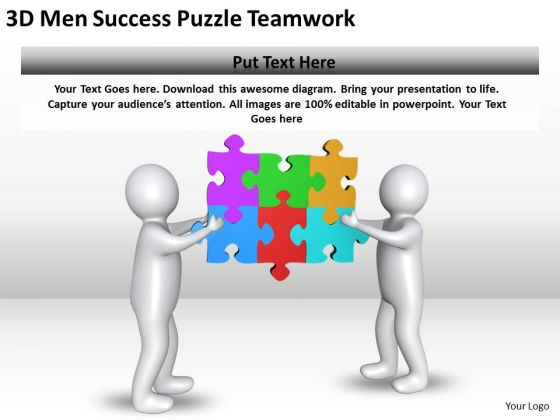 Business PowerPoint Examples 3d Men Success Puzzle Teamwork Templates