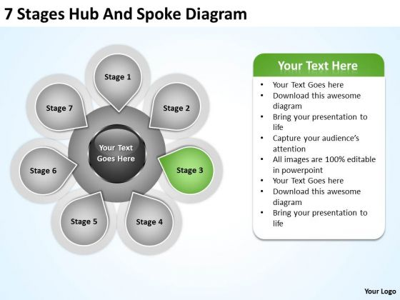 Business PowerPoint Examples 7 Stages Hub And Spoke Diagram Ppt Templates