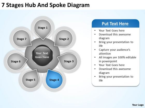 Business PowerPoint Examples 7 Stages Hub And Spoke Diagram Templates