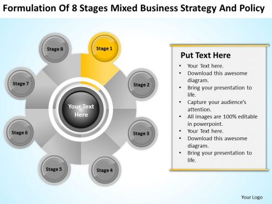 Business PowerPoint Examples 8 Stages Mixed Strategy And Policy Ppt Templates