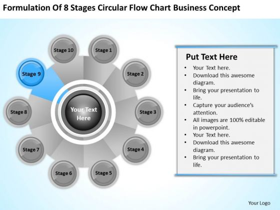 Business PowerPoint Examples Stages Circular Flow Chart Concept Templates