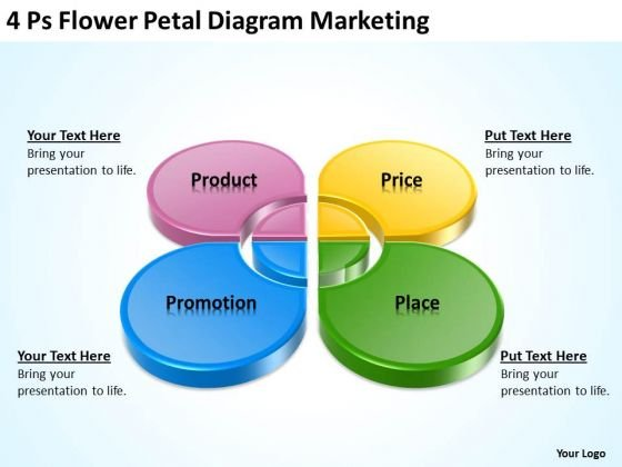 Business PowerPoint Template 4 Ps Flower Petal Diagram Marketing Ppt Slides