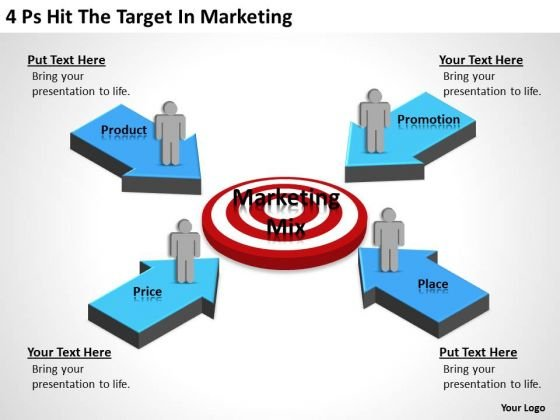 Business PowerPoint Template 4 Ps Hit The Target Marketing Ppt Slides