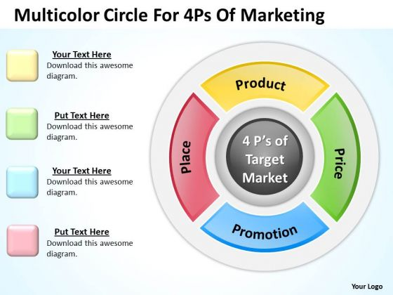 Business PowerPoint Template Multicolor Circle For 4ps Of Marketing Ppt Templates