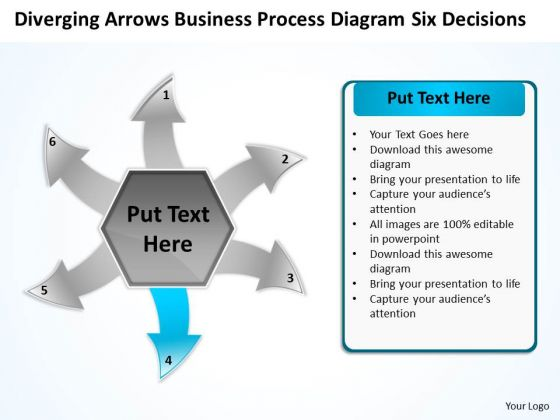 Business PowerPoint Theme Process Diagram Six Decisions Cycle Flow Network Slide