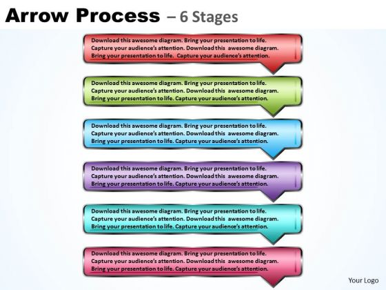 Business Ppt Theme Continuous Process Using 6 Rectangular Arrows 1 Graphic