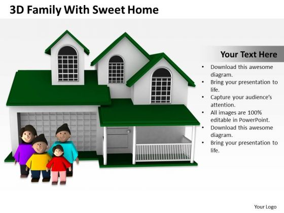 Business Process Diagram Chart 3d Family With Sweet Home PowerPoint Slides
