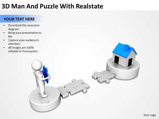 Business Process Diagram Chart 3d Man And Puzzle With Realstate PowerPoint Templates