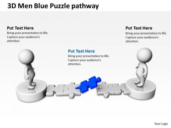 Business Process Diagram Chart 3d Men Blue Puzzle Pathway PowerPoint Templates