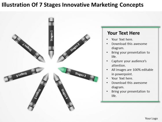 Business Process Diagram Chart Of 7 Stages Innovative Marketing Concepts PowerPoint Slide