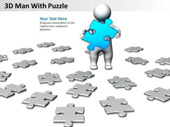 Business Process Diagram Example 3d Man With Puzzle PowerPoint Templates