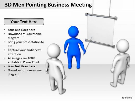 Business Process Diagram Example 3d Men Pointing Meeting PowerPoint Templates