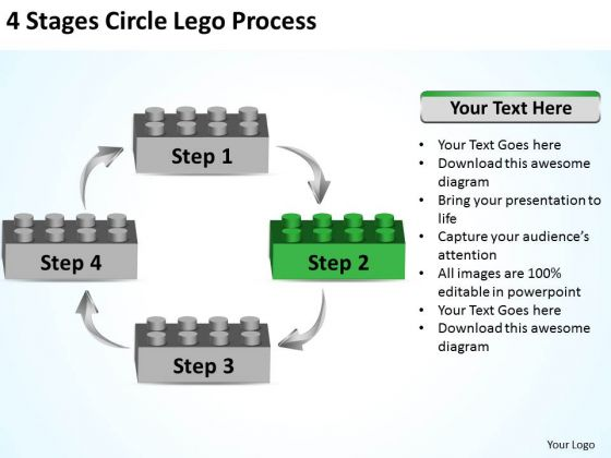 Business Process Diagram Example 4 Stages Circle Lego Ppt 2 PowerPoint Templates