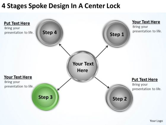Business Process Diagram Example 4 Stages Spoke Design Center Lock Ppt PowerPoint Templates