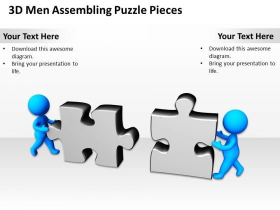 Business Process Diagram Examples 3d Men Assembling Jigsaw Puzzle Pieces PowerPoint Slides