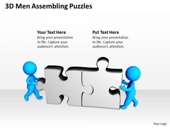 Business Process Diagram Examples 3d Men Assembling Puzzles PowerPoint Slides