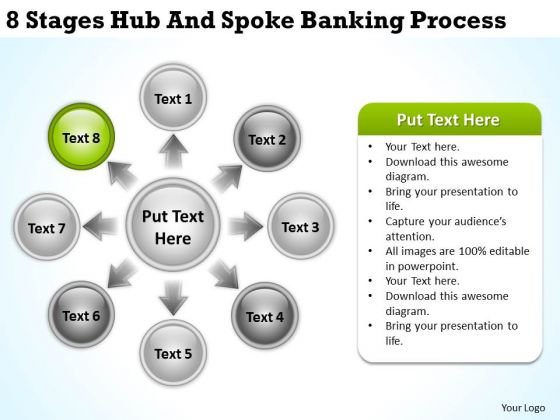 Business Process Diagram Examples 8 Stages Hub And Spoke Banking PowerPoint Slides