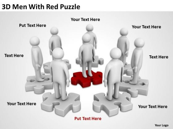 Business Process Diagram Symbols 3d Men With Red Puzzle PowerPoint Templates