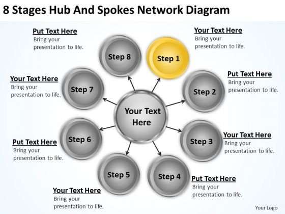 Business Process Diagram Symbols 8 Stages Hub And Spokes Network Ppt PowerPoint Slides