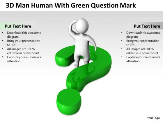 Business Process Diagram Visio 3d Man Human With Green Question Mark PowerPoint Slides