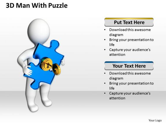 Business Process Diagrams 3d Man With Blue Puzzle PowerPoint Slides